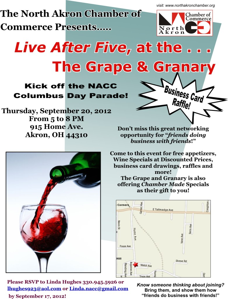 Kick off the NACC Columbus Day Parade!  Live After Five, at the Grape & Granary